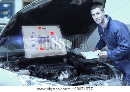 Engineering interface against mechanic analyzing car engine