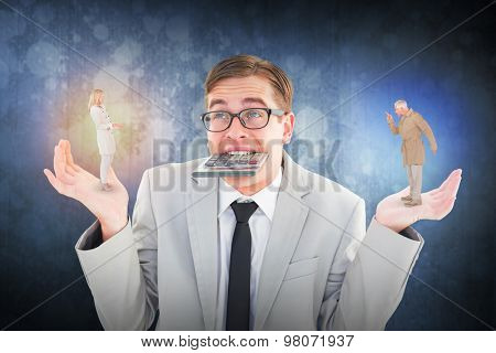 Angry couple fighting in trench coats against dark grey room