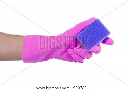 Mans Hand In Rubber Glove With Sponge Isolated