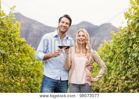 Young happy couple holding a glass of wine and looking in the distance in the grape fields