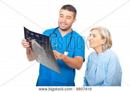 Doctor And Patient Review Good Results Of Mri
