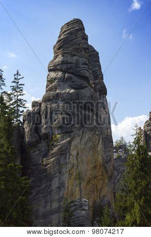 Sandstone Cliffs For Climbing In Green Forest