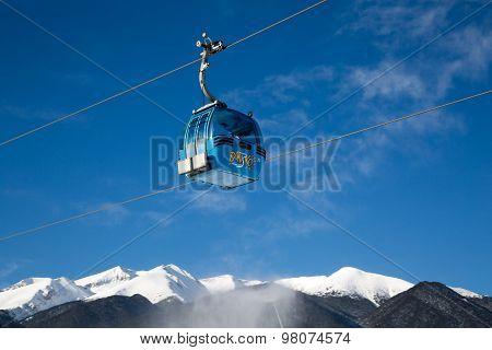 Bansko Cable Car Cabin And Snow Peaks, Bulgaria