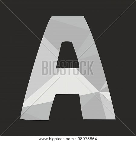 A low poly wrapping surface vector alphabet letter isolated on black background