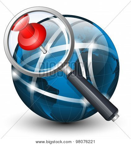 Global Search Icon. Vector Illustration