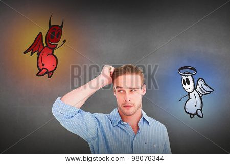 Handsome man in shirt thinking with hand on head against grey room
