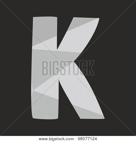 K low poly wrapping surface vector alphabet letter isolated on black background