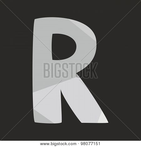 R low poly wrapping surface vector alphabet letter isolated on black background