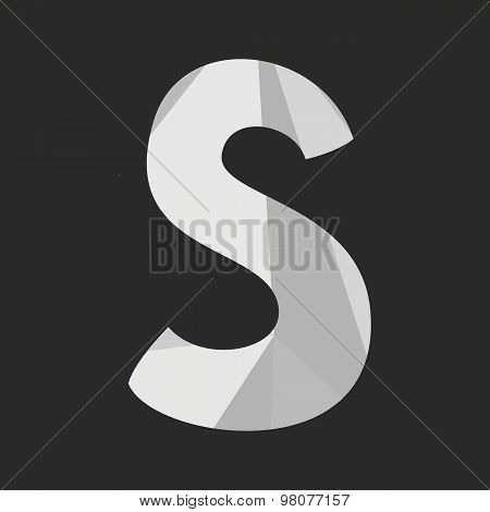 S low poly wrapping surface vector alphabet letter isolated on black background