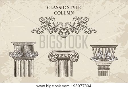 Antique and baroque classic style column vector set. Vintage architectural details design elements o