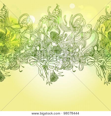 Green Colors  Romance Background With Bird And Floral Elements