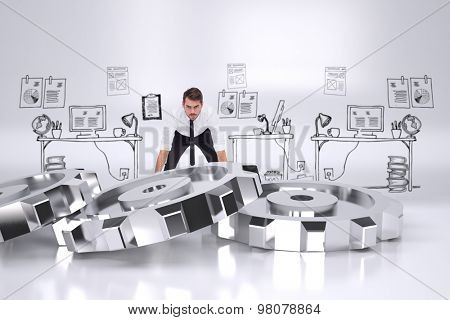 Elegant businessman lifting up something heavy against cogs and wheels