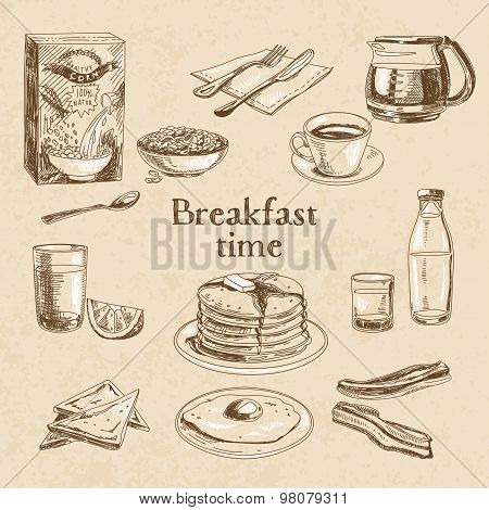Vector breakfast hand drawn set.