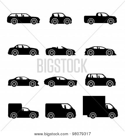 Vector icons of cars.
