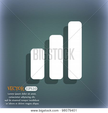 Growth And Development Concept. Graph Of Rate  Icon Symbol On The Blue-green Abstract Background Wit