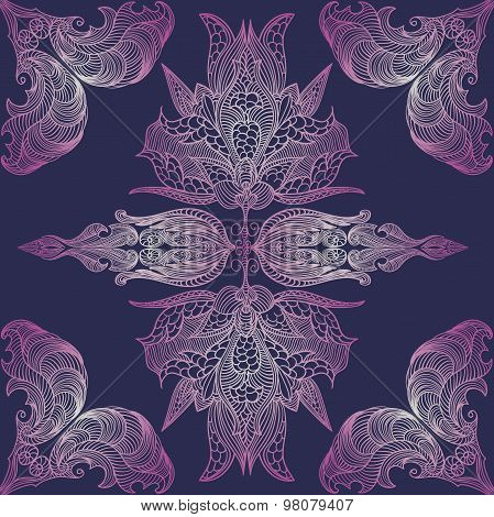 Vintage baroque colorful lace seamless pattern vintage butterfly wings. Vector floral damask ornamen
