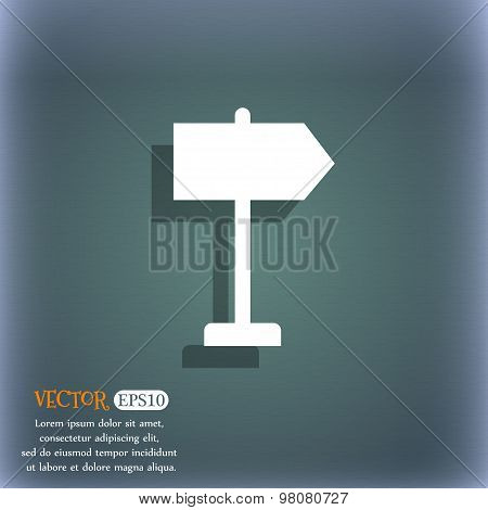 Signpost Icon Symbol On The Blue-green Abstract Background With Shadow And Space For Your Text. Vect