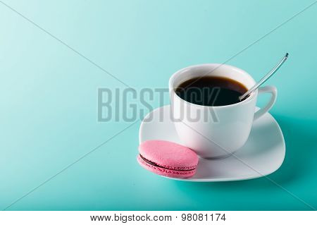 Coffee Cup On Aqua Background With Place For An Inscription