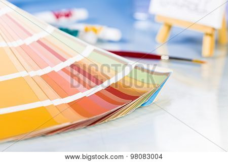 Close Up Of Color Palette In Studio Background