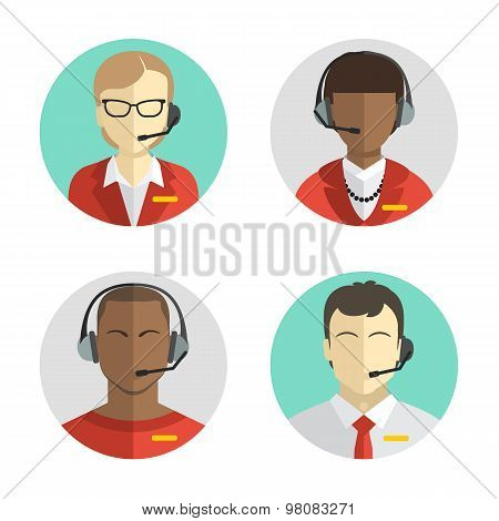 Icons set Male and female call center avatars in a flat style with a headset, conceptual of communic