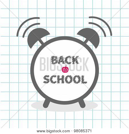 Alarm Cloack With Chalk Text On Paper Sheet Background Exercise Book Back To School. Back To School