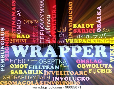 Background concept wordcloud multilanguage international many language illustration of wrapper glowing light