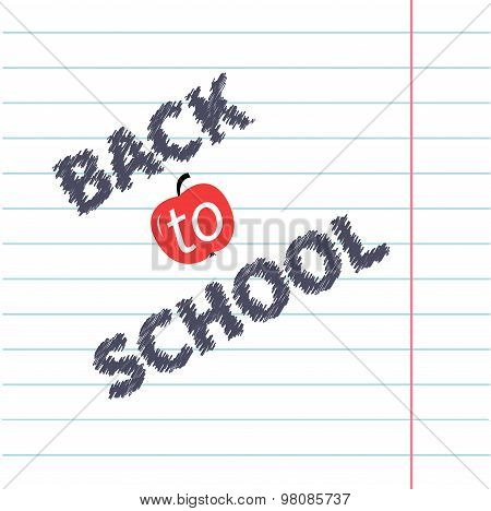 Back To School Chalk Text On Paper Sheet Background Lined Exercise Book Flat Design