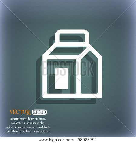 Milk, Juice, Beverages, Carton Package  Icon Symbol On The Blue-green Abstract Background With Shado