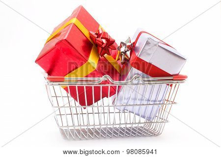 Gift boxes in a basket