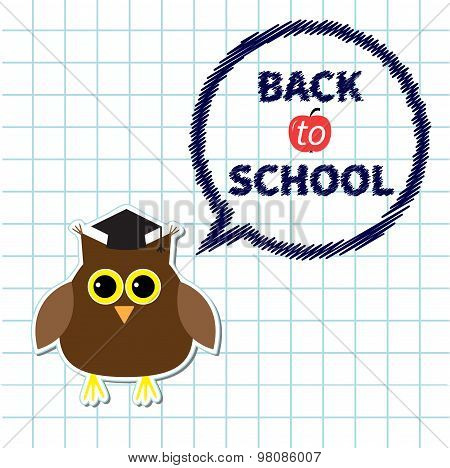 Owl In Graduate Hat Academic Cap And Round Think Talk Bubble Paper Sheet Background Exercise Book Ba