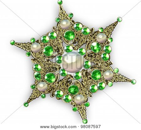 Illustration Fractal Star Brooch With Precious Stones