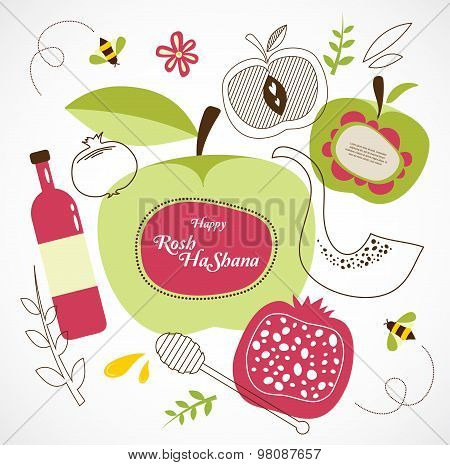 rosh hashanah-jewish holiday . traditional holiday symbols. Happy new year in hebrew
