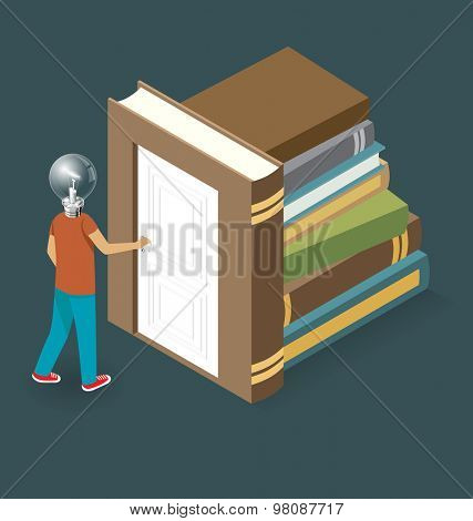 Knowledge Concept. Door to the knowledge. Vector 3d flat isometric with student is opening the door