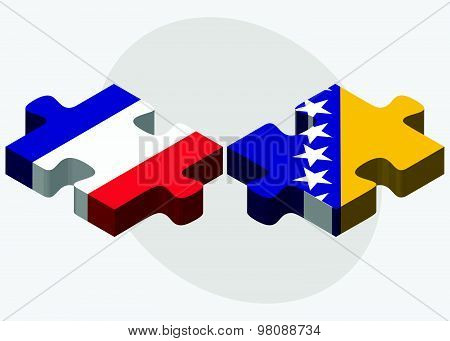 France And Bosnia And Herzegovina Flags