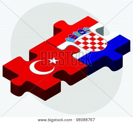 Turkey And Croatia Flags