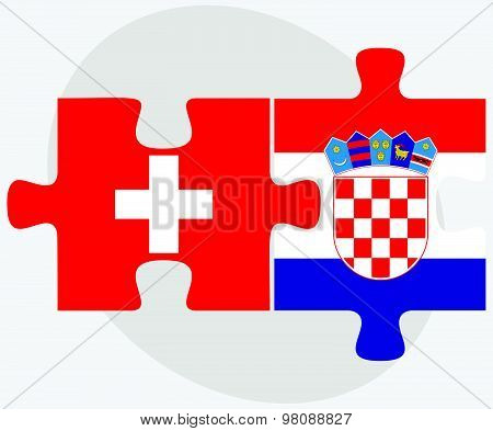Switzerland And Croatia Flags