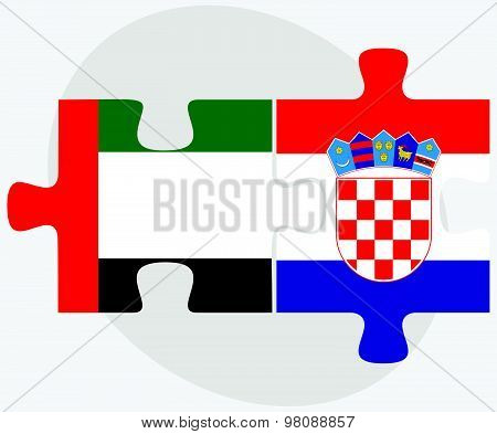 United Arab Emirates And Croatia Flags