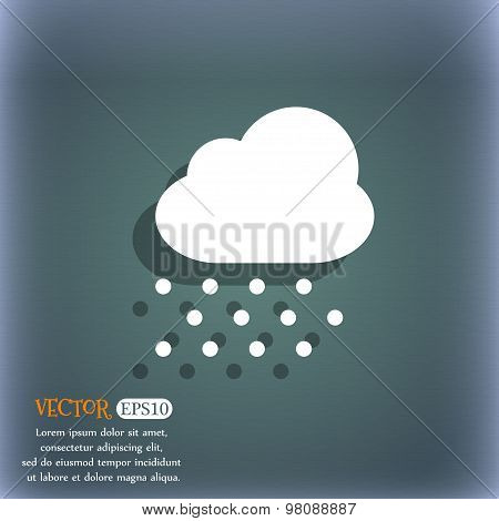 Snowing  Icon Symbol On The Blue-green Abstract Background With Shadow And Space For Your Text. Vect