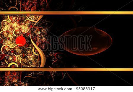 Illustration Jewelry Fractal Background With Bright Golden Patte