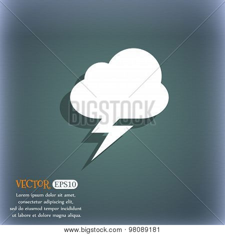 Storm  Icon Symbol On The Blue-green Abstract Background With Shadow And Space For Your Text. Vector