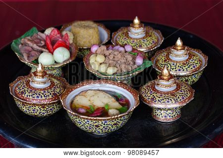 Thai Food Model In Thai Porcelain With Designs In Five Colours