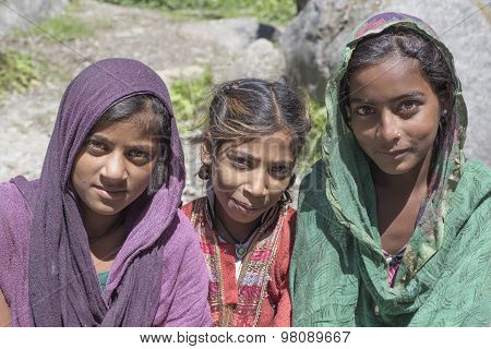 Local Young Girls In Manali, India