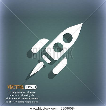 Rocket  Icon Symbol On The Blue-green Abstract Background With Shadow And Space For Your Text. Vecto