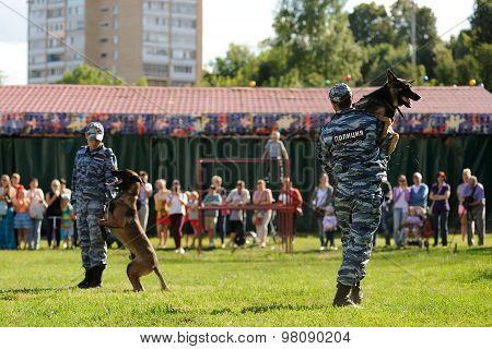 Orel, Russia, August 01, 2015: Mumu Fest, Turgenev's Story Art-festival, Policeman-cynologist, Dog H