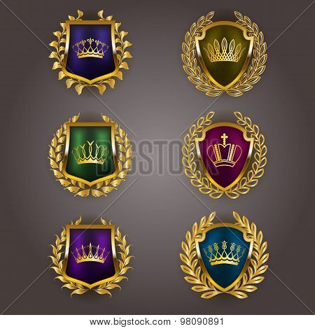 Golden shields with laurel wreath