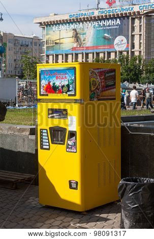 Kiev, Ukraine - May 27, 2013: Vending Machine For Soda At The Independence Square