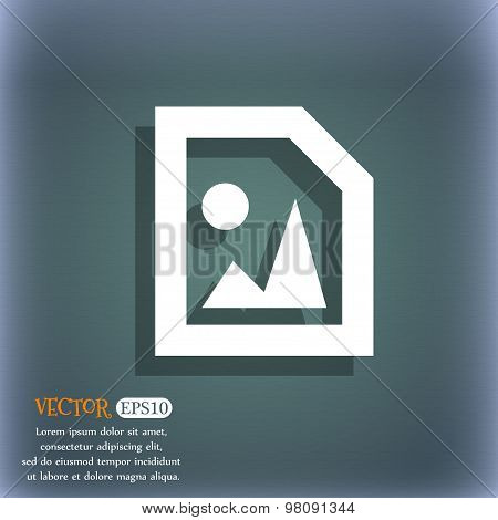 File Jpg  Icon Symbol On The Blue-green Abstract Background With Shadow And Space For Your Text. Vec