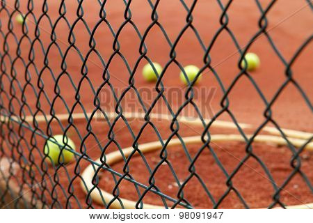 Group of Tennis balls on court