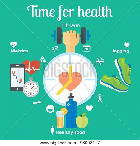 Time for healthy concept flat icons of jogging, gym, food, metrics.