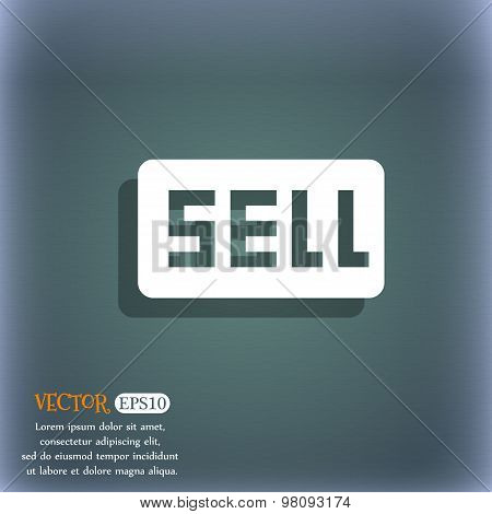 Sell, Contributor Earnings  Icon Symbol On The Blue-green Abstract Background With Shadow And Space